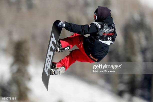 Cheryl Maas of Netherlands competes in qualifying for the FIS World Cup 2018 Ladies Snowboard Big Air during the Toyota US Grand Prix on December 8...