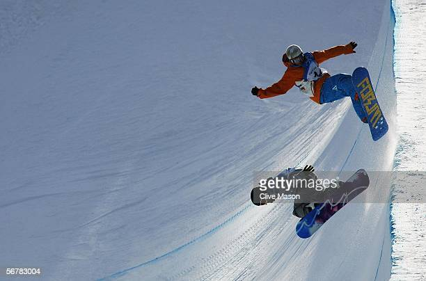 Cheryl Maas of Netherlands practices during snowboard training prior to the Turin 2006 Winter Olympic Games on February 8 2006 in Bardonecchia Italy...