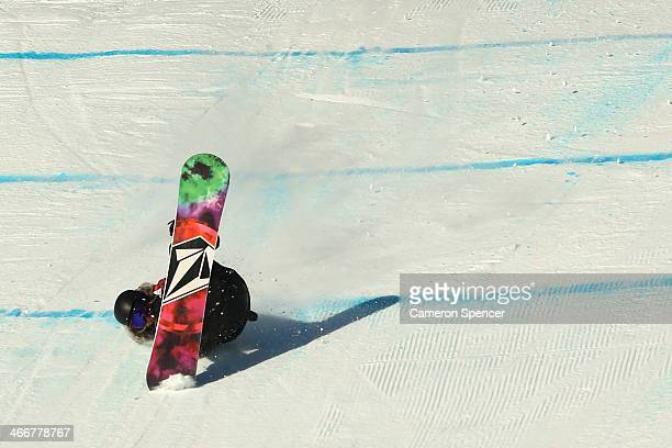 Cheryl Maas of New Zealand crashes during Snowboard Slopestyle practice at the Extreme Park at Rosa Khutor Mountain ahead of the Sochi 2014 Winter...