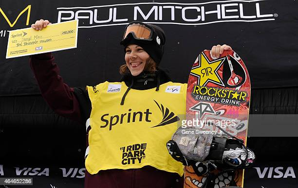Cheryl Maas of the Netherlands celebrates with a check after her over all win in the 2015 Sprint US Grand Prix Series at Park City Mountain on...