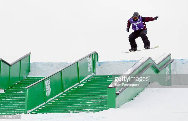 Cheryl Maas of the Netherlands competes during the FIS Snowboarding World Cup 2015 Ladies' Snowboard Slopestyle Final during the US Grand Prix at...