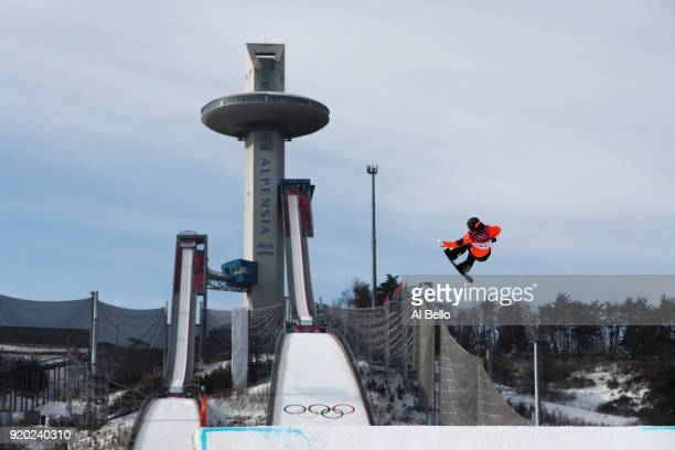 Cheryl Maas of the Netherlands competes during the Snowboard Ladies' Big Air Qualification on day 10 of the PyeongChang 2018 Winter Olympic Games at...
