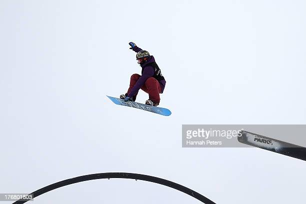 Cheryl Maas of the Netherlands competes in qualifying for FIS Snowboard Slopestyle World Cup Finals during day five of the Winter Games NZ at...