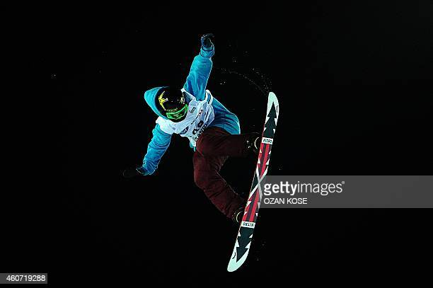 Cheryl Maas of the Netherlands competes in the final round of the FIS Freestyle Snowboard Men's World Cup in Istanbul on December 20 2014 AFP PHOTO /...