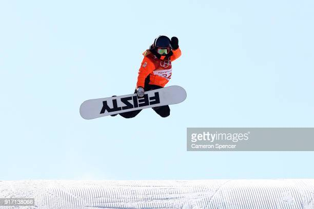 Cheryl Maas of the Netherlands competes in the Snowboard Ladies' Slopestyle Final on day three of the PyeongChang 2018 Winter Olympic Games at...
