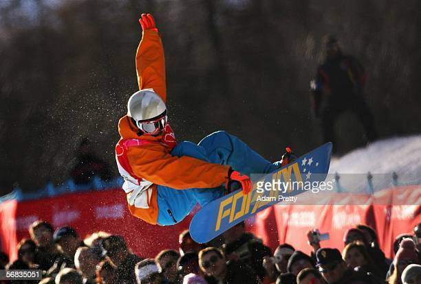Cheryl Maas of the Netherlands competes in the Womens Snowboard Half Pipe Qualifying on Day 3 of the 2006 Turin Winter Olympic Games on February 13...