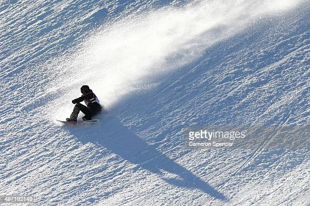 Cheryl Maas of the Netherlands crashes out in the Women's Slopestyle Qualification during the Sochi 2014 Winter Olympics at Rosa Khutor Extreme Park...