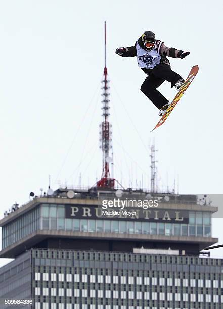 Cheryl Maas of the Netherlands makes a practice run during Polartec Big Air Day 1 at Fenway Park on February 11 2016 in Boston Massachusetts