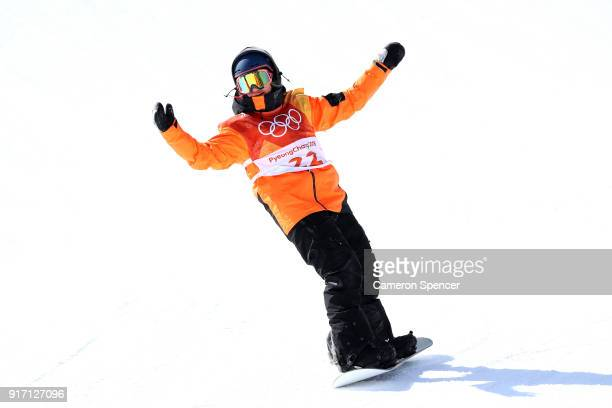 Cheryl Maas of the Netherlands reacts in the Snowboard Ladies' Slopestyle Final on day three of the PyeongChang 2018 Winter Olympic Games at Phoenix...