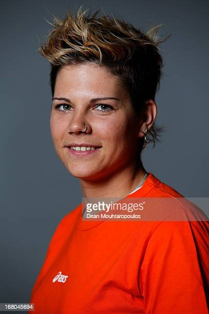 Cheryl Maas poses during the NOC*NSF Sochi athletes and officials photo shoot for Asics at the Spoorwegmuseum on May 4 2013 in Utrecht Netherlands