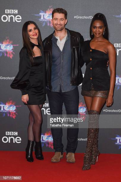 Cheryl Matthew Morrison and Oti Mabuse attend a photocall for the BBC's The Greatest Dancer at The May Fair Hotel on December 10 2018 in London...