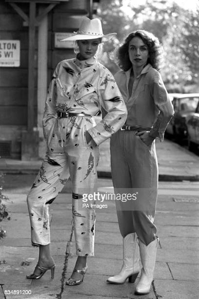 Cheryl Matthews in Brian Baker's raw silk late day jumpsuit and Felicity in Charlotte Flood's silk flying suit in turquoise and yellow
