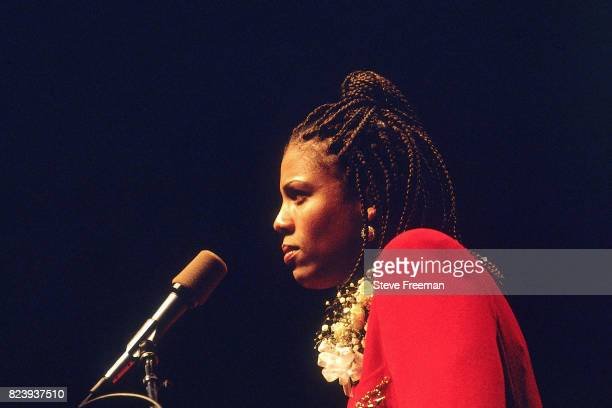 Cheryl Miller accepts an induction into the Naismith Memorial Basketball Hall of Fame Class of 1995 on May 10 1995 in Springfield Massachusetts NOTE...