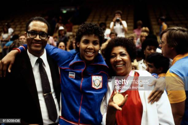 Cheryl Miller and her parents Women's basketball medal ceremony The Forum at the 1984 Summer Olympics August 7 1984