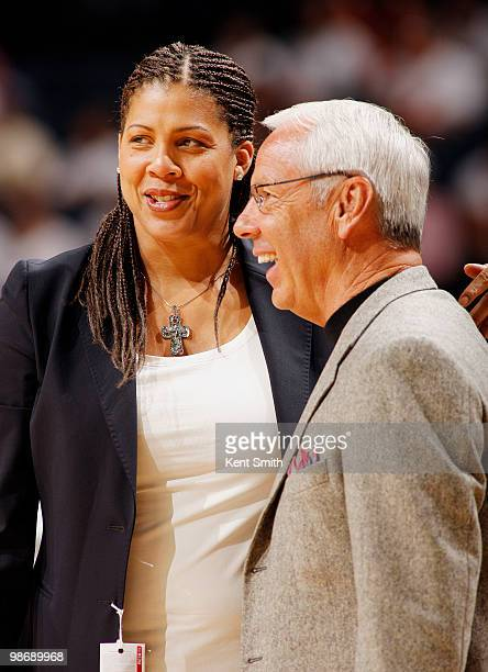 Cheryl Miller and Roy Williams share a laugh before Game Four of the Eastern Conference Quarterfinals during the 2010 NBA Playoffs on April 26 2010...