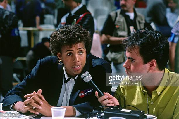 Cheryl Miller broadcasts during the 1988 McDonald's Championships on October 24 1988 at the Palacio de los Deportes in Madrid Spain The Boston...