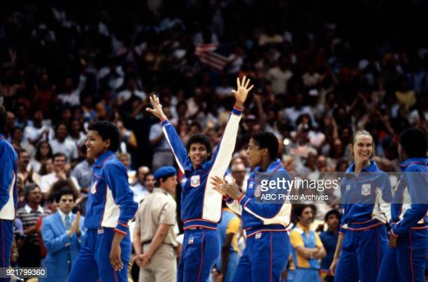 Cheryl Miller Cathy Boswell Cindy Noble US team Women's basketball medal ceremony The Forum at the 1984 Summer Olympics August 7 1984
