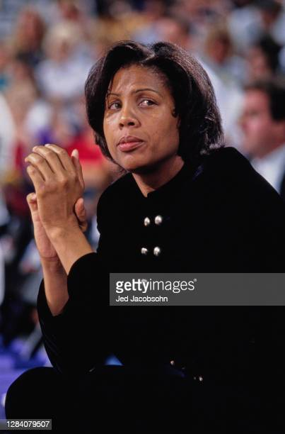 Cheryl Miller, Head Coach for the Phoenix Mercury during the WNBA Western Conference basketball game against the New York Liberty on 12th August 1997...