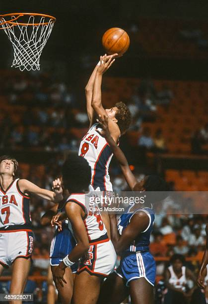 Cheryl Miller of the USA attempts a shot during the 1983 Pan American Games played during August 1983 in Caracas Venezuela Anne Donovan of the USA...