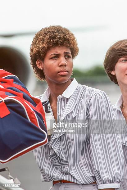 Cheryl Miller of the USA Women's Basketball Team arrives in Caracas Venezuela for the 1983 Pan Am Games during August 1983