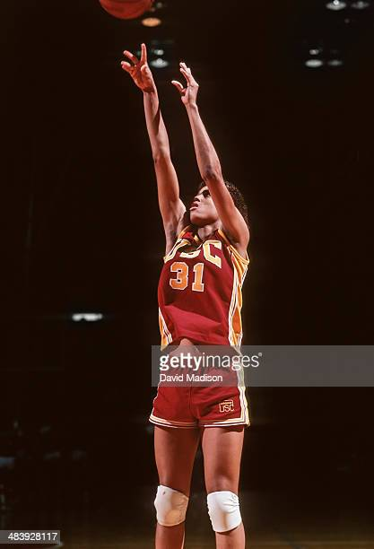 Cheryl Miller of the USC Trojans attempts a shot during an NCAA women's basketball game against Stanford University played during February 1983 in...