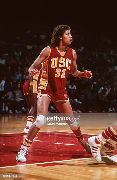 Cheryl Miller of the USC Trojans plays defense during an NCAA women's basketball game against Stanford University played during February 1983 in...