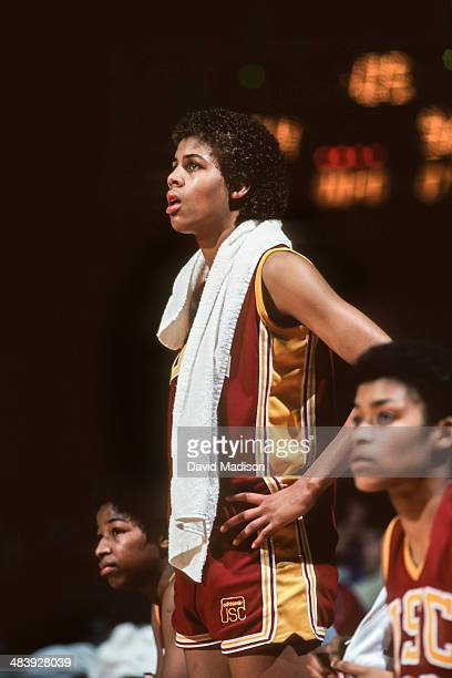 Cheryl Miller of the USC Trojans watches from the sidelines during an NCAA women's basketball game against Stanford University played during February...