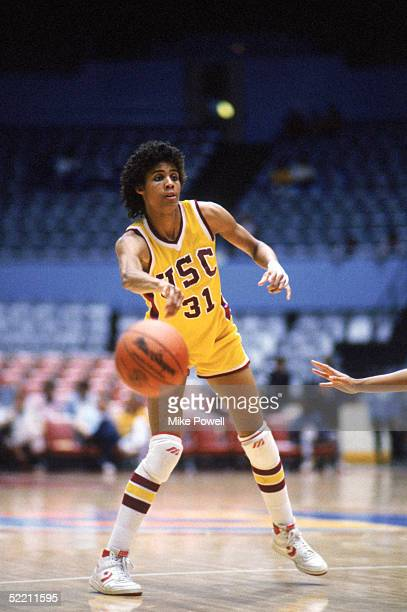 ALTO CA Cheryl Miller of USC Trojans passes the ball during a women basketball game against the Stanford Cardinal in Palo Alto California Cheryl...