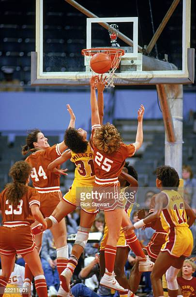 AUSTIN TX Cheryl Miller of USC Trojans puts a shot up during a women basketball game against Texas Longhorns in Austin Texas Cheryl Miller's college...