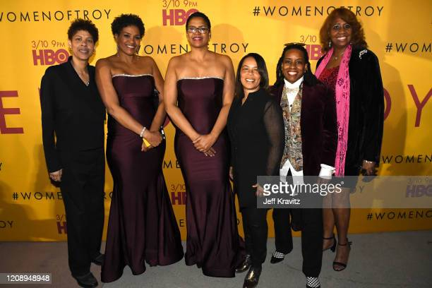 """Cheryl Miller, Pam McGee, Paula McGee, Rhonda Windham, Juliette Robinson, and JaMaiia Bond attend the Los Angeles premiere of """"Women of Troy"""" from..."""