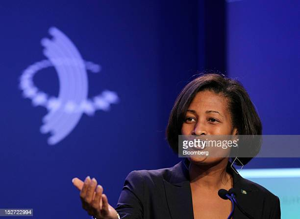 Cheryl Mills counselor and chief of staff for US Secretary of State Hillary Clinton speaks during the annual meeting of the Clinton Global Initiative...