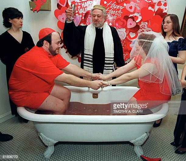 Cheryl Minikes and Matthew Mandell both 22 from Sheepshead Bay Brooklyn take the ultimate St Valentine's Day plunge by getting married in a bathtub...