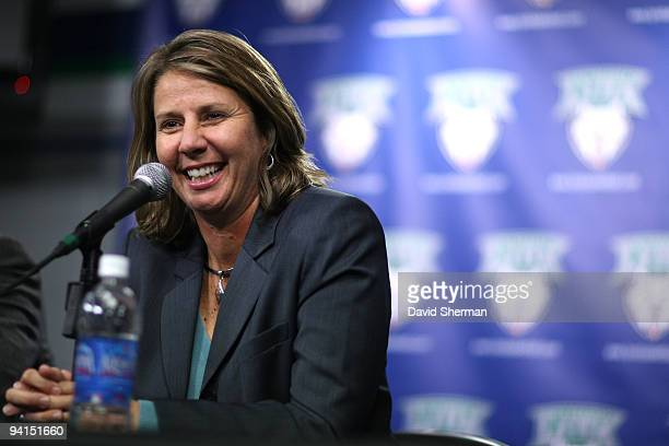 Cheryl Reeve is introduced as the new Head Coach of the Minnesota Lynx at a press conference on December 8 2009 at the Target Center in Minneapolis...