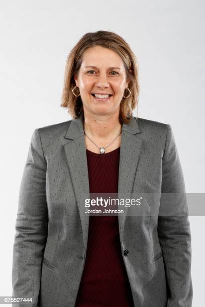 Cheryl Reeve of the Minnesota Lynx poses for portraits during 2017 Media Day on May 1 2017 at the Minnesota Timberwolves and Lynx Courts at Mayo...