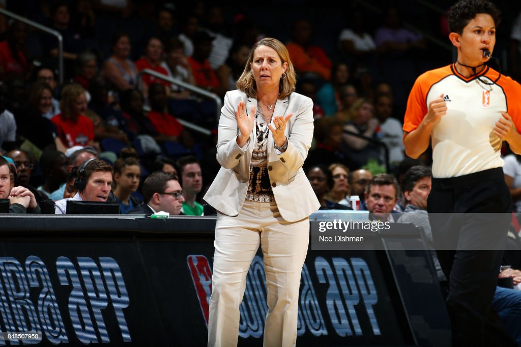 Cheryl Reeve of the Minnesota Lynx reacts during the game against the Washington Mystics in Game Three of the Semifinals during the 2017 WNBA Playoffs on September 17, 2017 at the Capital One Arena in Washington, DC.