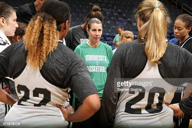 Cheryl Reeve of the Minnesota Lynx speaks to the team during a game against the Washington Mystics during an Analytic Scrimmage at the Verizon Center...