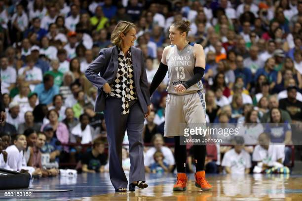 Cheryl Reeve of the Minnesota Lynx talks with Lindsay Whalen of the Minnesota Lynx during the game against the Los Angeles Sparks in Game One of the...