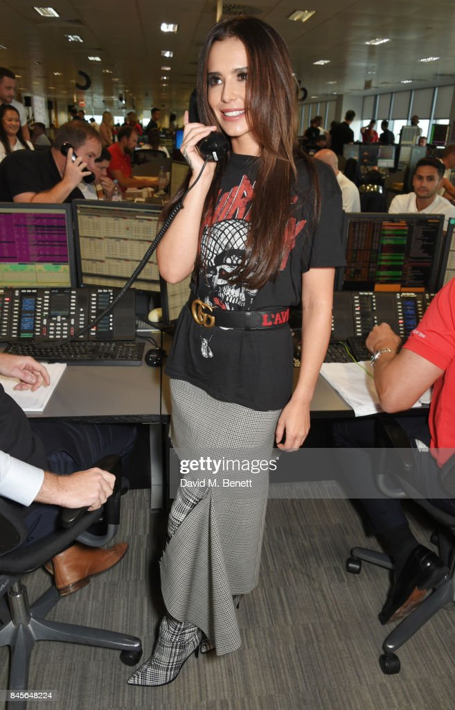 Cheryl, representing Cheryl's Trust, makes a trade at BGC Charity Day on September 11, 2017 in London, United Kingdom.