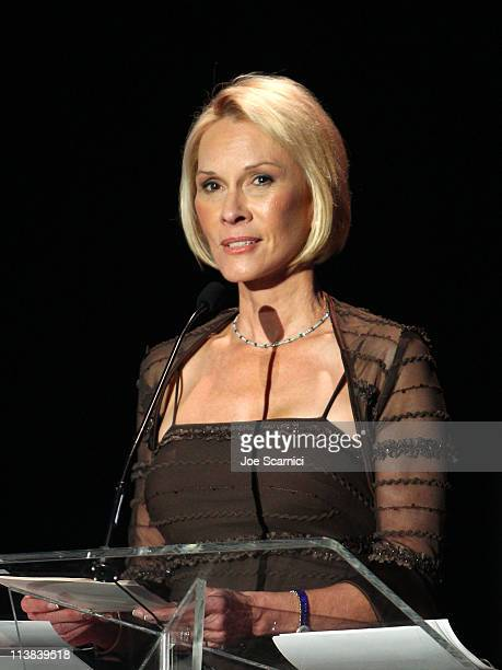 Cheryl Saban speaks onstage during Dream For Kids Grand Opening Gala supported by AEG and presented by Starz LLC benefitting Children's Hospital Los...
