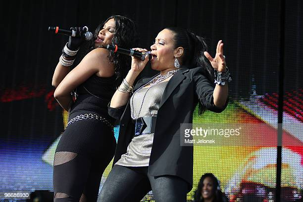 Cheryl 'Salt' James and Sandra 'Pepa' Denton of SaltnPepa perform on stage at the Perth leg of the Good Vibrations festival at Claremont Showgrounds...