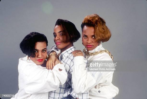 Cheryl 'Salt' James Deidra 'Dee Dee' Roper aka Spinderella and Sandra 'Pepa' Denton of the hip hop trio SaltNPepa pose for a portrait in 1988