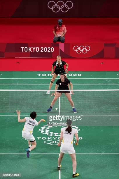 Cheryl Seinen and Selena Piek of Team Netherlands compete against Mayu Matsumoto and Wakana Nagahara of Team Japan during a Women's Doubles Group B...