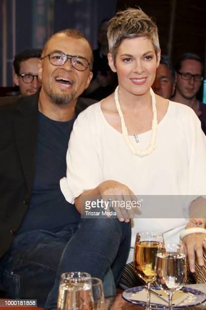 Cheryl Shepard and her husband Nikolaus Okonkwo during the NDR talk show on June 15 2018 in Hamburg Germany
