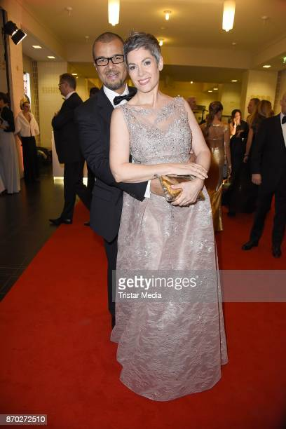 Cheryl Shepard in a dress of Luxuar and her husband Nikolaus Okonkwo attend the Leipzig Opera Ball on November 4 2017 in Leipzig Germany