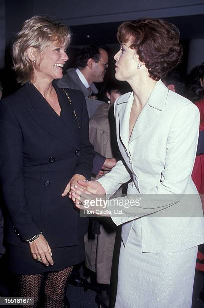 Cheryl Tiegs and actress Sigourney Weaver attend the premiere of Death And The Maiden on December 5 1994 at the Sony Lincoln Square Theater in New...