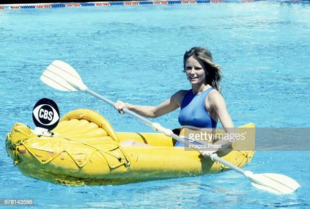 Cheryl Tiegs in a canoe circa 1978