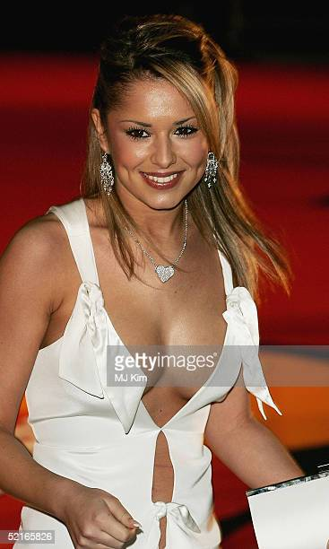 Cheryl Tweedy from pop band Girls Aloud arrive at the 25th Anniversary BRIT Awards 2005 at Earl's Court February 9 2005 in London