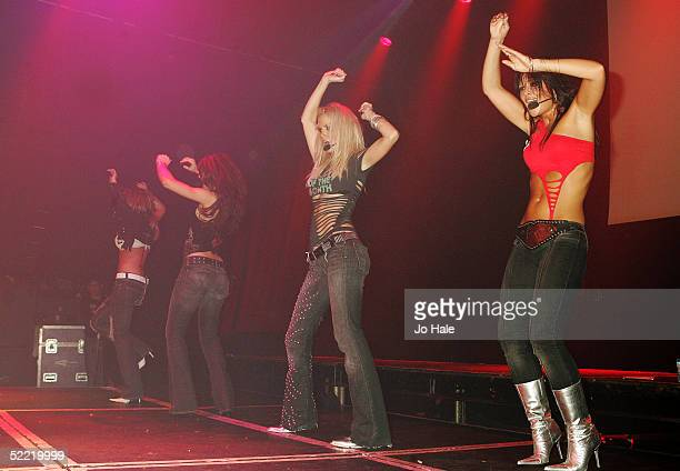 Cheryl Tweedy Nicola Roberts Sarah Harding and Kimberley Walsh of Girls Aloud perform on stage during popular gay night GAY at the Astoria on...