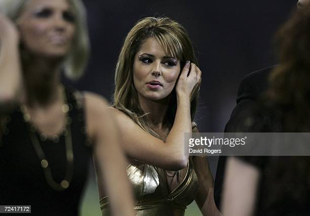Cheryl Tweedy of Girls Aloud performs after the Investec Challenge match between England and New Zealand at Twickenham on November 5 2006 in London...