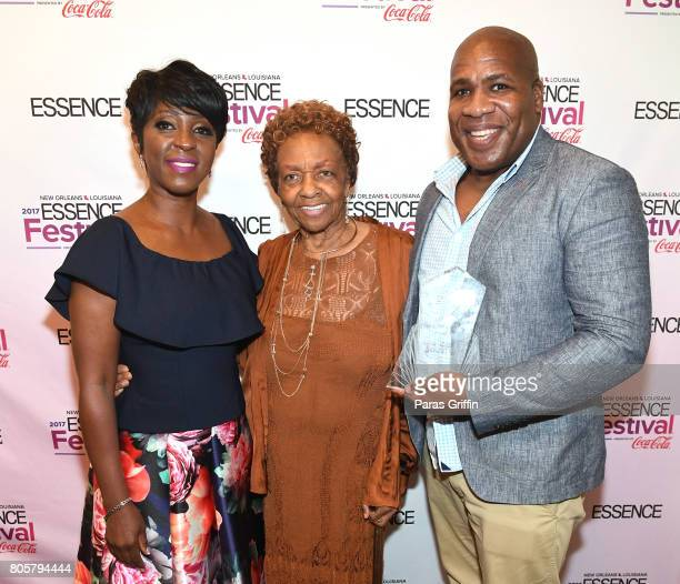 Cheryl Wills Cissy Houston and Patrik Henry Bass pose backstage at the 2017 ESSENCE Festival presented by CocaCola at Ernest N Morial Convention...